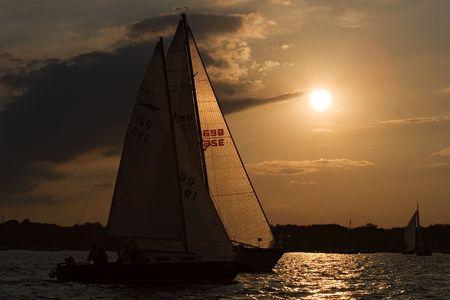 erie: Sunset on Lake Erie, Ontario Stock Photo