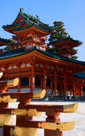 Heian Shrine in Kyoto, Japan on a beautiful, sunny day. photo