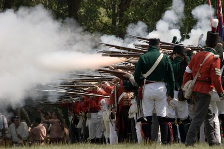 vintage military rifle: Re-enactment of the Battle of 1812 at Fort Erie, Ontario, Canada Stock Photo