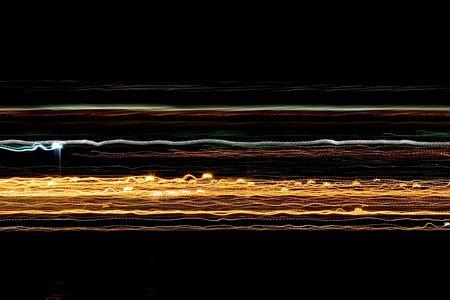 抽象的な色は夜に移動中の車から記録されます。 写真素材