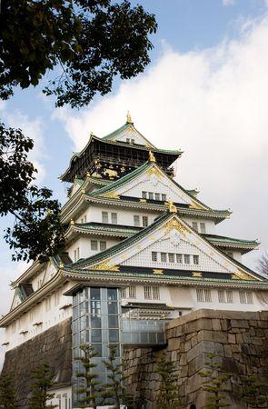 冬の澄んだ日には大阪城、日本。 報道画像