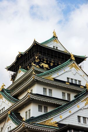Closer view of Osaka Castle with more ornate detail visible.