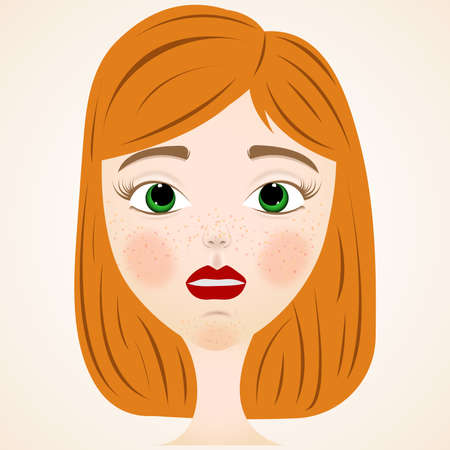 Vector girl face with green eyes, red hair