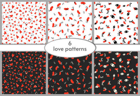 Vector love seamless pattern set with hearts, lips, arrows, love on st Valentines day or wedding