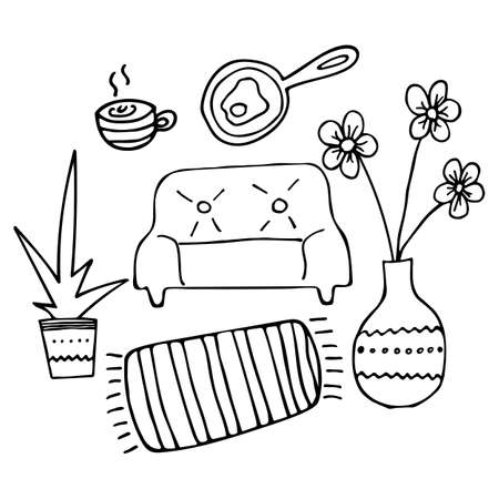 Vector subjects, line hand drawn doodle, flowers, sofa, plant, omelette, cup, carpet 向量圖像