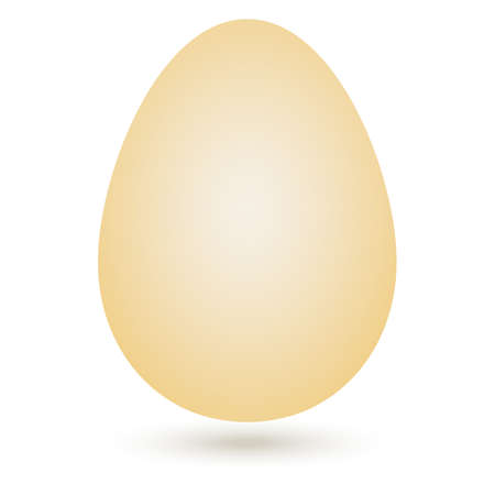 Vector beige egg on white background on Easter and kitchen