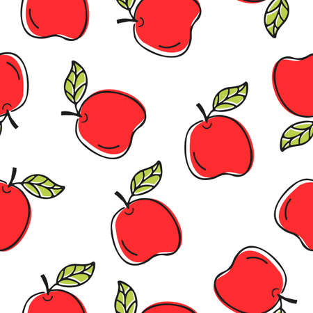 Seamless cute pattern with juicy apples on white background