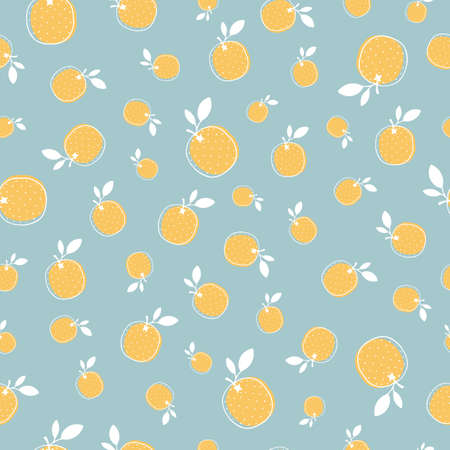 Vector seamless pattern with orange fruit on blue background. Cute pattern with hand drawn fruits