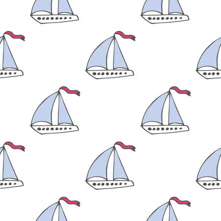 Vector seamless pattern with boat on white background