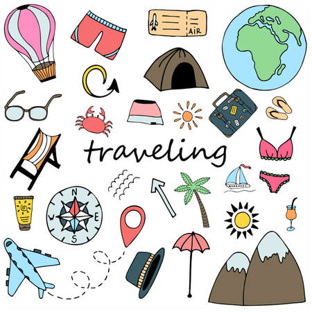 Vector doodle travel set with hand drawn isolated multicolored elements