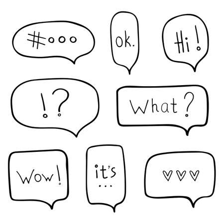 Vector doodle set, chat window, hand drawn set on white background Vettoriali
