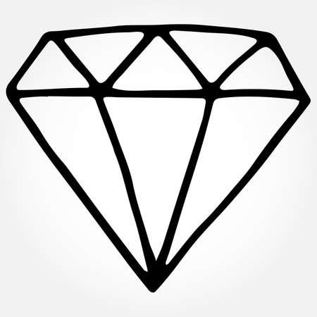 Vector hand drawn doodle diamond. Isolated illustration