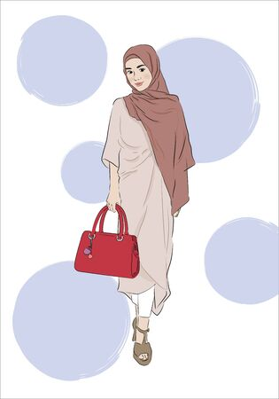Malay woman in hijab and Niqab on white background. Cartoon character in traditional Muslim hijab. Islamic Women in Niqab Style. Minimalistic drawn style Иллюстрация