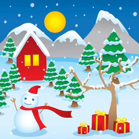 winter season: Winter season new year christmas vector cartoon
