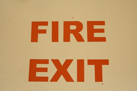 Fire exit warning Stock Photo