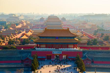bejing: Aerial view of Forbidden City from Jingshan Park in Bejing, China