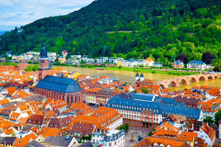 View over the medieval old town of Heidelberg, Germany Stock Photo