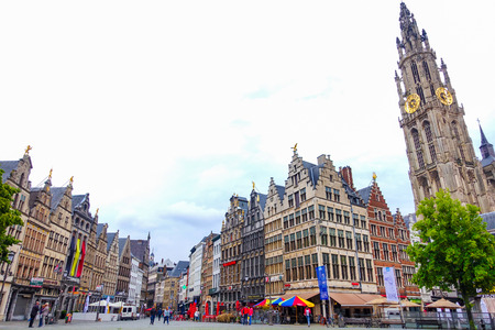 benelux: Antwerp, Belgium-June 13, 2016: Beautiful historical buildings and the Cathedral of Our Lady in the old town of Antwerp Editorial