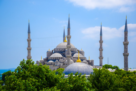 Blue mosque or Sultanahmet Mosque in Istanbul, Turkey rom above with blue sky in summer Stock Photo