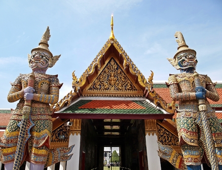temple tower: Temple of the beautiful art at Wat Phra Kaew Grand Palace Bangkok