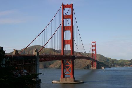 marvel: A horizontal composition of the Golden Gate Bridge, as viewed from the Presidio. Stock Photo