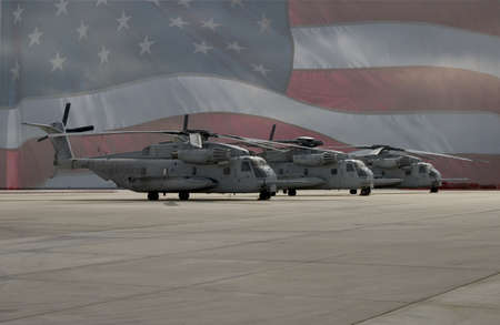superimposed: Three American military transport helicopters inline on the tarmac, superimposed over the American flag
