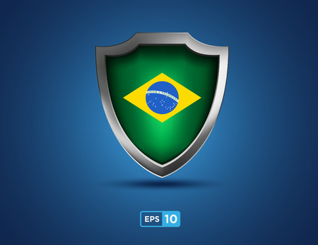 Brazil shield on the blue background Vector