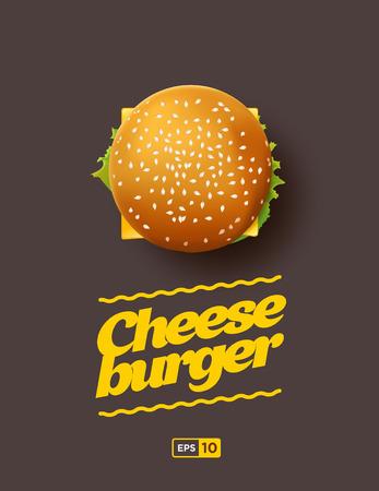 Vista superior ilustración de Cheesburger en el fondo oscuro