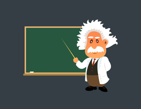 handcarves: Old professor is showing something on the green board