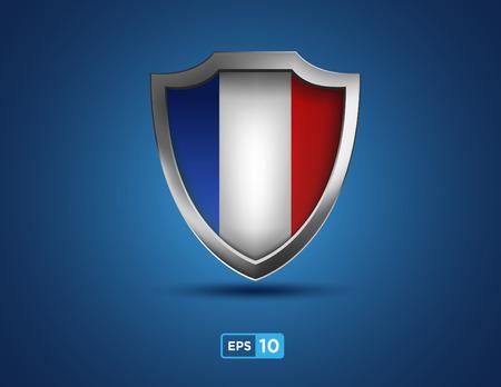 france shield on the blue background Illustration