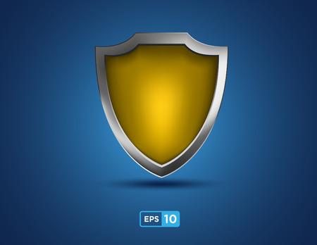 golden shield: golden shield on the blue background