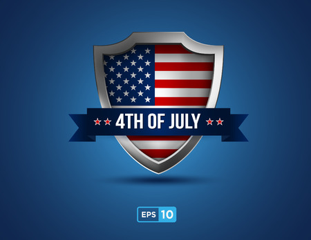 circa: fourth  of july shield on the blue background Illustration