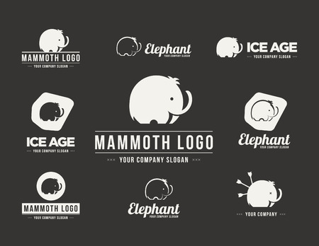 siluetas de elefantes: Silueta Mammoth vector logotipo. Colecci�n de los s�mbolos de elefante