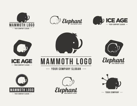 Mammoth silhouette vector logo set. Collection of the elephant symbols