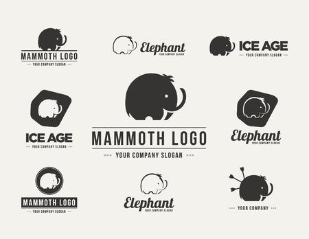 Mammoth silhouette vecteur logo réglé. Collection des symboles d'éléphants Logo