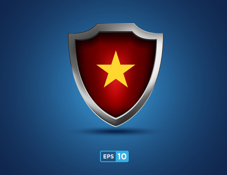 national hero: vietnam shield with yellow star on red background