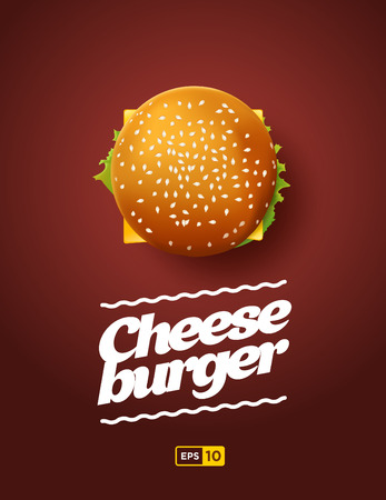 view: Top view illustration of cheesburger