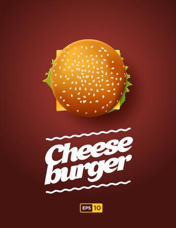 hamburguesa: Vista superior ilustraci�n de Cheesburger