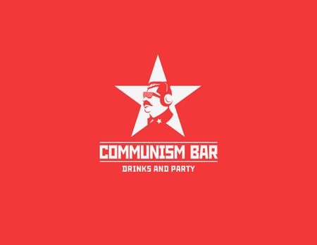 dictator: Communism style restaurant bar design vector template. Soviet dictator head icon silhouette concept for night club party.