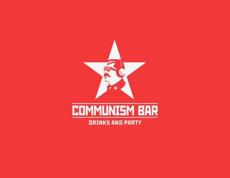 simbolo: Il comunismo modello di stile bar ristorante disegno vettoriale. Testa dittatore concetto icona silhouette Sovietica per night club partito. Vettoriali