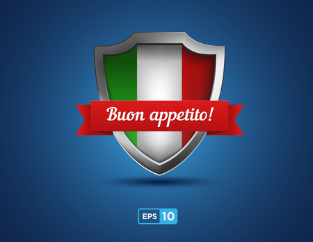 buon: Italy shield with red ribbon buon appetito on the blue background