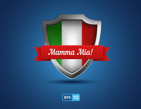 Italy shield with red ribbon buon appetito on the blue background