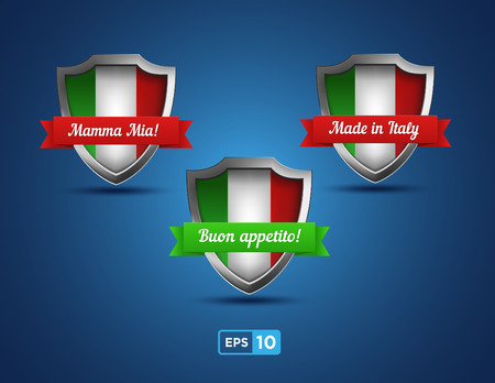 Italy shields with red and green ribbons on the blue background