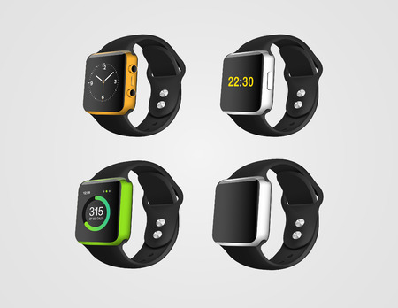 wrist watch: Set of the smart fitness watches on the white background