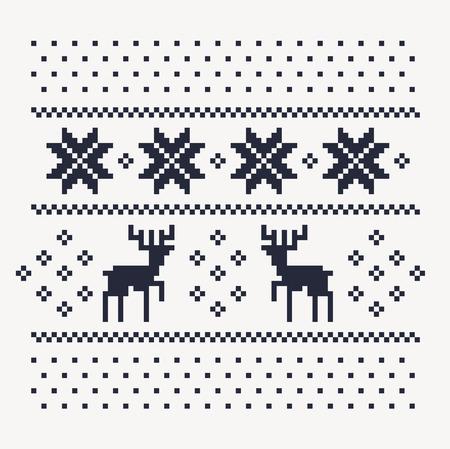 Kerst winter patroon af te drukken voor trui of t-shirt. Pixel herten en sneeuwvlokken op de witte achtergrond