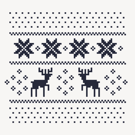 christmas winter pattern print for jersey or t-shirt. Pixel deers and snowflakes on the white background