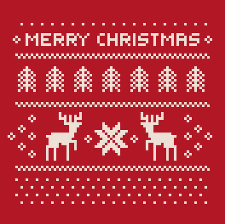 christmas winter pattern print for jersey or t-shirt. Pixel deers and christmas trees on the red background