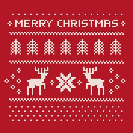 Kerst winter patroon af te drukken voor trui of t-shirt. Pixel herten en kerstbomen op de rode achtergrond