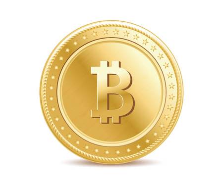 realistic golden isolated bitcoin coin