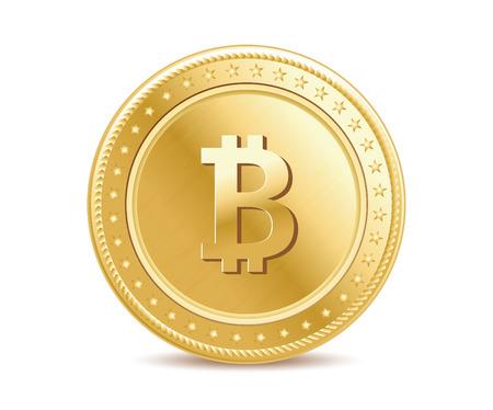 realistische geïsoleerd gouden medaille bitcoin